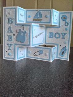 61 Ideas Baby Boy Cards Handmade - My list of the most beautiful baby products Baby Boy Cards Handmade, New Baby Cards, Greeting Cards Handmade, Baby Girl Cards, Tri Fold Cards, Fancy Fold Cards, Folded Cards, Moldes Para Baby Shower, Tarjetas Diy