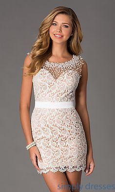Short Sleeveless Ivory Lace Cocktail Dress by Dave and Johnny at SimplyDresses.com