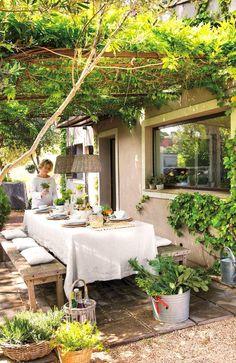 Pergola Patio, Backyard Patio, Backyard Landscaping, Pergola Kits, Pergola Ideas, Landscaping Ideas, Wisteria Pergola, Diy Patio, White Pergola
