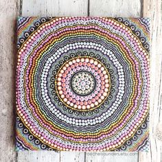 Acrylic Painting, Rainbow design, Aboriginal Dot Art, 20 x 20 cm stretched canvas, Rainbow Decor, Authentic Australian Aboriginal Art