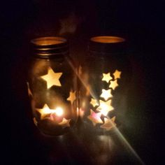 Gold Mason Jar Star Tealights by ThisIsElevenEleven on Etsy - We could do Bow ties and paint them blue!