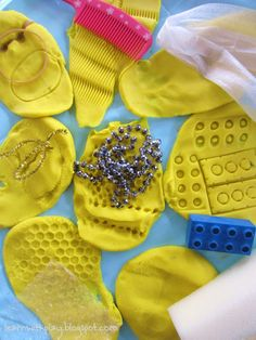 Playdough Imprints. Texture and Pattern Exploration (from Learn with Play at Home)