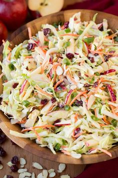 Apple Cranberry Almond Coleslaw - 10 Yummy Cole Slaw Recipes For Your Next Summer BBQ Apple Slaw, Carrot Slaw, Cooking Recipes, Healthy Recipes, Top Recipes, Healthy Salads, Simple Recipes, Recipies, Cranberry Almond
