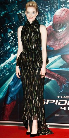 Emma Stone walked the red carpet at The Amazing Spider-Man's Rome premiere in a metallic Bottega Veneta peplum gown, diamond and cabochon Tiffany & Co. jewelry and pointy-toe Louboutins.
