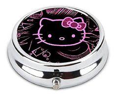 OceanArt Custom Hello Kitty Unique Silver Tone Round Pill Box Medicine Tablet Organizer or Coin Purse