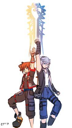 Sora and Riku Kingdom Hearts Characters, Kingdom Hearts Fanart, Cry Anime, Anime Art, Kingdom Hearts Crossover, Kh 3, Boy Squad, Kindom Hearts, Girls Anime