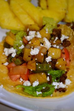 Island Tacos- spiced soy crumbles and sauteed pineapple- perfect.   'a rented kitchen'