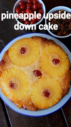 Eggless Recipes, Easy Cake Recipes, Sweet Recipes, Eggless Desserts, Indian Dessert Recipes, Pineapple Upside Down Cake, Eggless Pineapple Cake, Baked Pineapple, Pineapple Slices