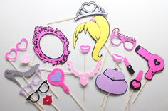 18pc * Barbie Inspired Photobooth Props/Princess Party Photo Booth Props by ThePartyGirlStudio on Etsy https://www.etsy.com/listing/225114911/18pc-barbie-inspired-photobooth