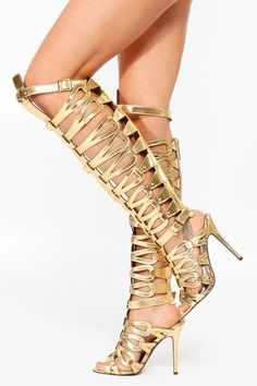 Breckelles Gold Thigh High Gladiator Heels @ Cicihot Heel Shoes ...