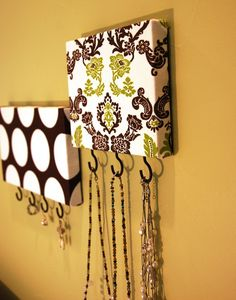 Set of 2 Jewelry / Accessory / Key Hangers in Brown, Vibrant Green and White. $28.50, via Etsy.