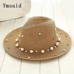 50550bbc7855b Summer Hats 2019 Ymsaid 2018 New Summer British pearl beading flat brimmed straw  hat Shading sun hat Lady beach hat