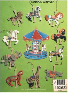 Carousel Ornaments Plastic Canvas Pattern The Needlecraft Shop 943386 Plastic Canvas Ornaments, Plastic Canvas Christmas, Plastic Canvas Crafts, Plastic Canvas Patterns, Diy Christmas Ornaments, Kids Christmas, Xmas, Christmas Decorations, Bead Crochet Rope