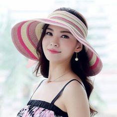 Women bow striped sun visor hat wide brim straw hat for beach wear f97631b99b08