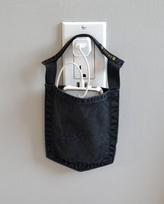 Cell phone docking station,  Lucky Brand Jeans pocket charger for iPhone, iPod, phone charging pouch, cell phone charger, smartphone