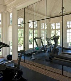 Home gym by Pursley Dixon–dream house will have this! Home gym by Pursley Dixon–dream house will have this! Dream Home Gym, Gym Room At Home, Home Gym Decor, Best Home Gym, Home Gyms, Gym Mirror Wall, Home Gym Mirrors, Framed Mirrors, Mirror Walls