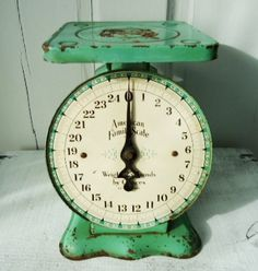Gorgeous Vintage Jadite Green Kitchen Scale - looks super similar to the one my gram gave me!