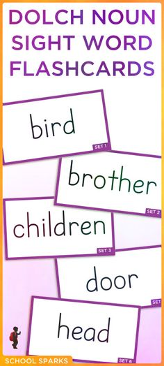 Free Dolch sight word flashcards with Dolch nouns. Each page contains eight sight word flashcards.