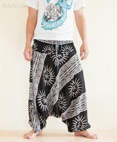 Aladdin Baggy Low Crotch Unisex Boho Yoga Pants (Black Greek Sun)