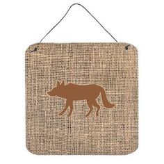 Caroline's Treasures Wolf Burlap and Brown Aluminum Hanging by Denny Knight Graphic Art Plaque