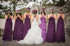 Bridesmaids. Maid of honor in a different color