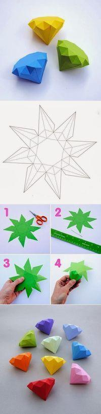 DIY: Diamants de papier   Tutoriaux __ gVirt_NP_NN_NNPS <__ bricolage et artisanat