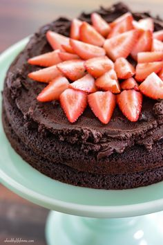 Strawberry Chocolate Paleo Cake - a decadent, dark rich chocolate, moist cake and sweet strawberry confection. No one will know that it is sugar-free, dairy free and grain free because it is so satisfyingly delicious. #food #paleo #grainfree #glutenfree #dairyfree #dessert #cake #chocolate #strawberry #recipe