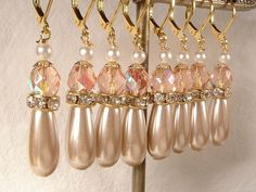 Vintage Blush Pink Crystal Champagne Pearl & by AmoreTreasure