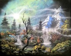 Foggy Night 14x18 inch spray painting by RS10SprayPaint on Etsy, $80.00