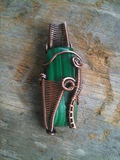 Copper Wrapped // Malachite // Wire Pendant by Magickwrapper, $72.00