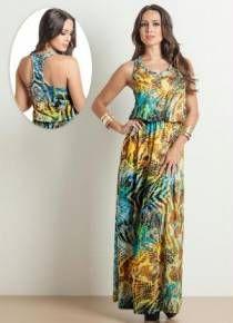 Vestido longo mix estampa