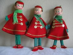 3 Vintage 1960s Felt Christmas Ornaments Cadet School Boy Elf Band Member Japan