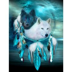 Juanshi One Set Full Drill White Wolf Dream Catcher Diamond Painting DIY Embroidery Art Kits Gift Care-Cleaning Cleaners Cleaners Pieces Dishes Supplies Dream Catcher Painting, Dream Catcher Art, Dream Catcher Images, Native American Wolf, Dream Catcher Native American, Native American Pictures, Wolf Photos, Wolf Pictures, Anime Wolf