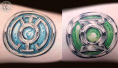 Blue and Green Lantern rings done by Rob Sweet #ascendingkoi #tattoos #dccomics #comicbooks #greenlantern #geek