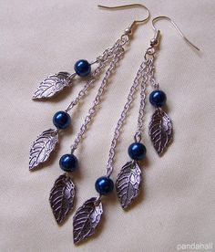 Tibetan style leaf dangle earrings made by  Radka Bílková from LC.Pandahall.com    #pandahall