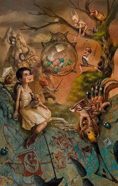 greg craola simkins, painting, surreal, childhood, beyond shadows, animals, creatures, upper playground