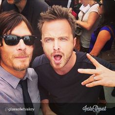 OMG!!!!! Norman Reedus and Aaron Paul in one pic?! Hotness all over! Waaaah! I can stare at this pic all day.... Hahaha! #DarylDixon #JesseP...