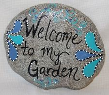"""Hand Painted Large Rock By Deb Rottum  """"Welcome to my Garden""""  Rock Art"""