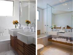 cuba semiencaixe banheiro branco e madeira
