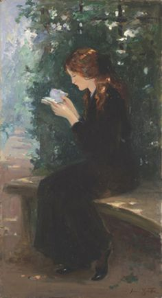 """""""Woman Reading"""" by Laura Adeline Muntz Lyall (Canadian, 1860-1930)"""