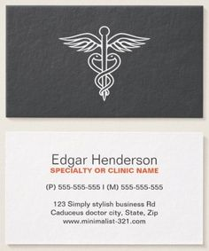 modern minimalist gray medical doctor caduceus business card - Medical Business Cards