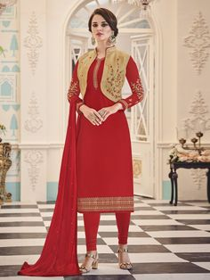 Stunning red partywear straight cut suit with koti online which is crafted from georgette fabric with exclusive embroidery work. This stunning designer straight cut suit comes with shantoon bottom, nazneen dupatta and banglori silk koti.