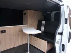 Vauxhall Vivaro converted into a campervan by Rock Salmon Vans in Dawlish Campervan, Corner Desk, Vans, Cabinet, Storage, Interior, Furniture, Salmon, Camping