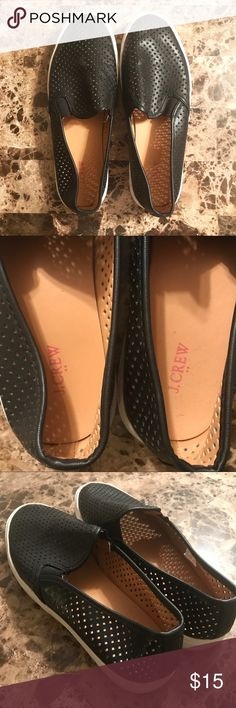 J. Crew Perforated Leather Slip-On Sneakers J. Crew Perforated Leather Slip-On Sneakers • Leather, size 9 (fits me and I am a 9.5 usually) • Worn a handful of times, sign of wear on bottom of soles pictured J. Crew Shoes Sneakers