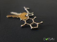 Caffeine Molecule Keyring by Dotsan'
