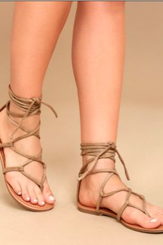 fd1494f4424e Show of your sunny style in the Lulus Emilia Beige Suede Lace-Up Flat  Sandals! Starting at a toe thong upper