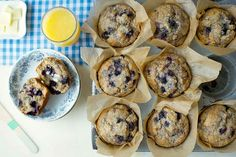 100% Whole Wheat Blueberry Muffins: King Arthur Flour