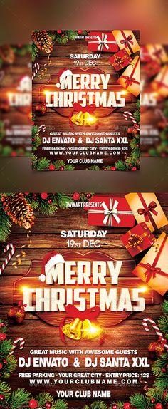 Christmas Party Flyer Christmas Party Flyer, - Well Organized One PSD Layered Editable file - Nye Party, Party Flyer, Thank You Font, Christmas Flyer Template, Merry Christmas, Xmas, Free Park, Menu Design, Typography Design
