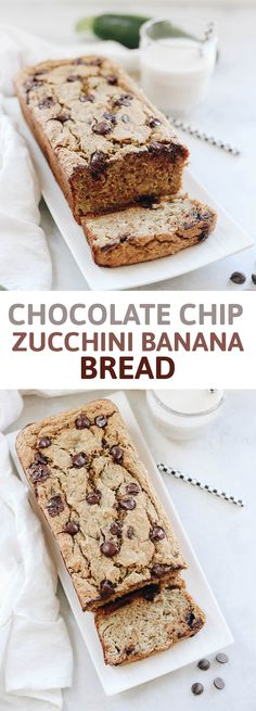 A healthy summer treat with a serving of zucchini mixed into this sweet and delicious Chocolate Chip Zucchini Banana Bread! Made with oat flour, sweetened with banana, maple syrup and a healthy dose of chocolate.