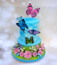 {Whimsical Butterflies on a birthday cake by Karen Geraghty}